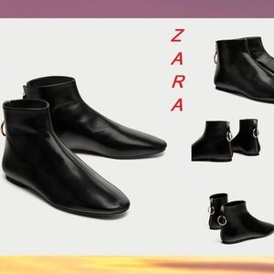 ZARA Flat Leather New Ankle Boots